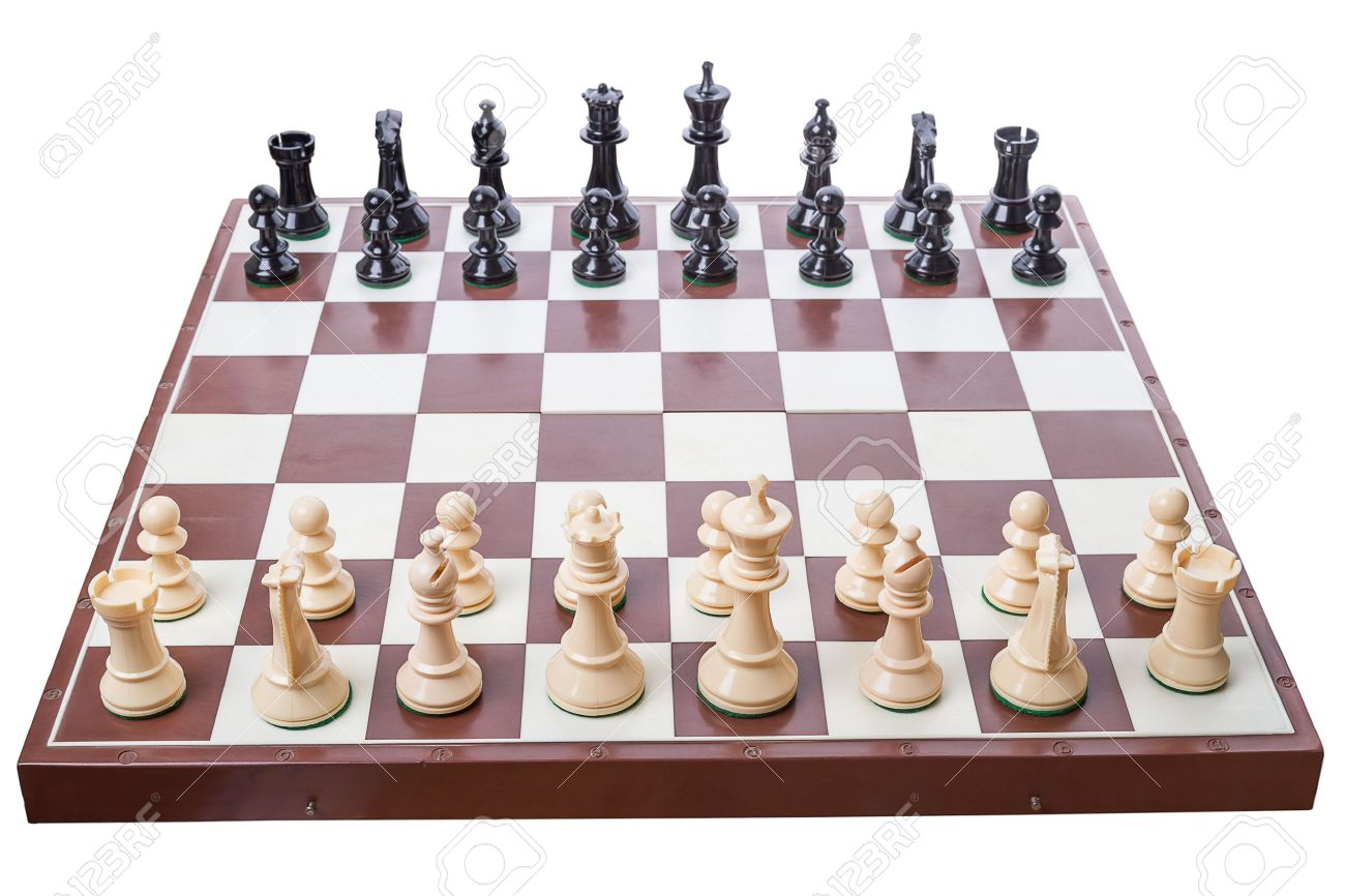 Chess board set up to begin a game Isolated on white background Stock Photo - 15561629  sc 1 st  123RF.com & Chess Board Set Up To Begin A Game Isolated On White Background ...