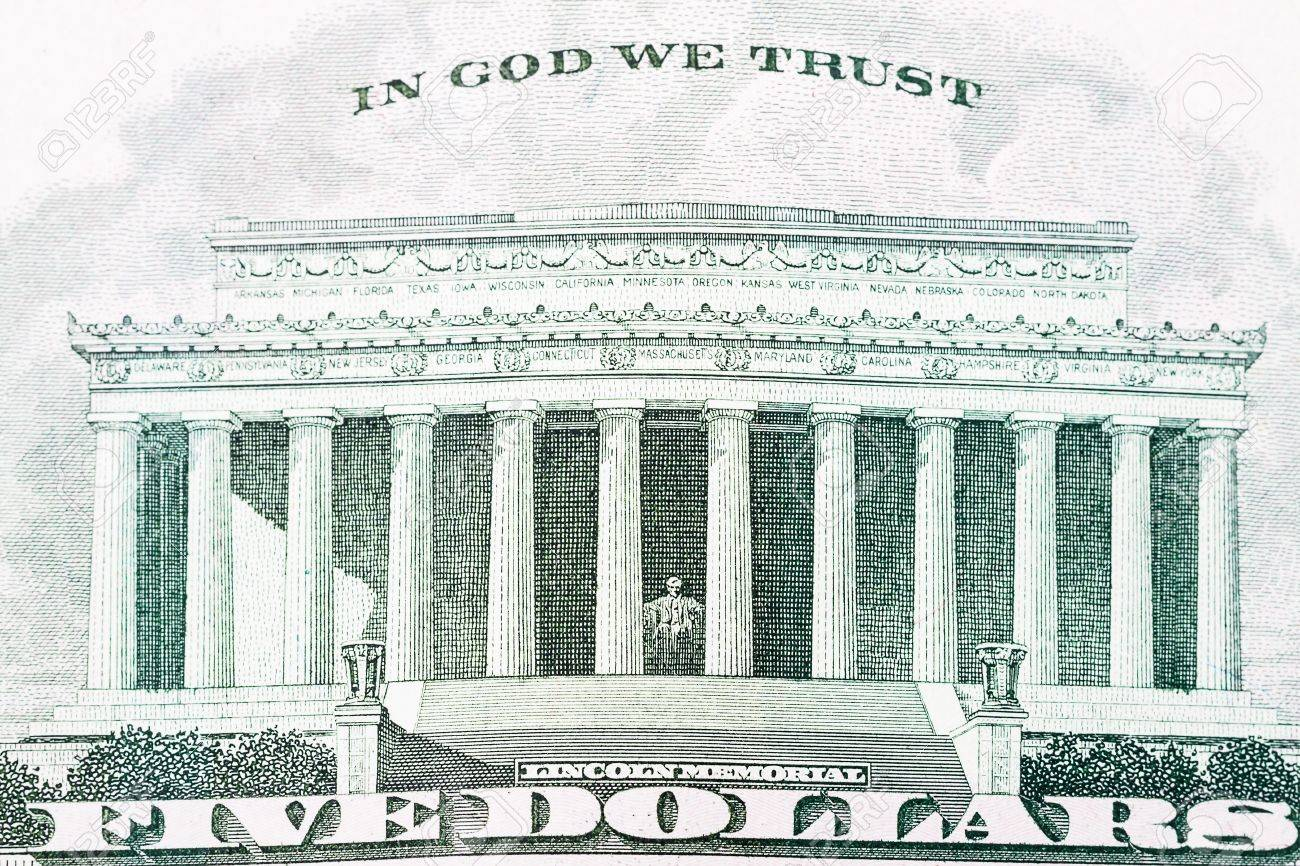 Stock P O The Lincoln Memorial As It Appears On The Back Of The Five Dollar Bill