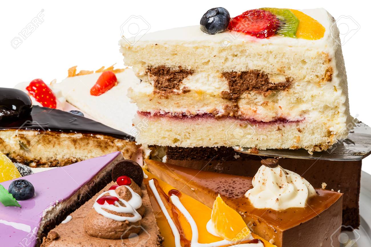 Piece of cake with fruit  Side view close-up Stock Photo - 16980882