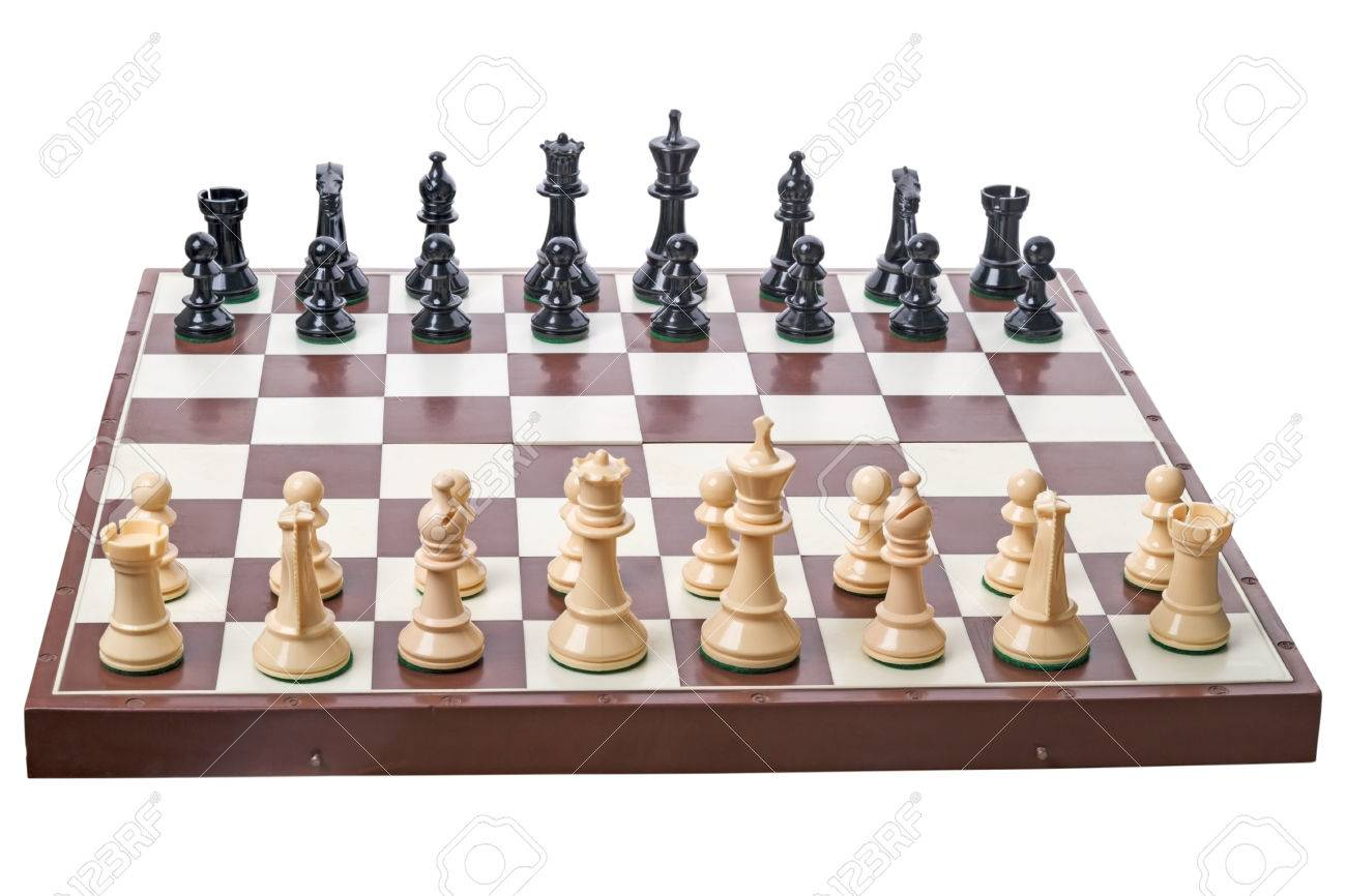Chess Board Set Up To Begin A Game Isolated On White Background