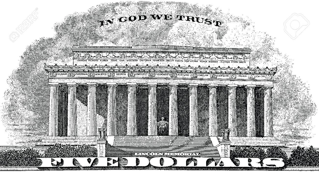 lincoln memorial building clipart. gravure lincoln memorial in god we trust from the back of a five dollar bill stock building clipart