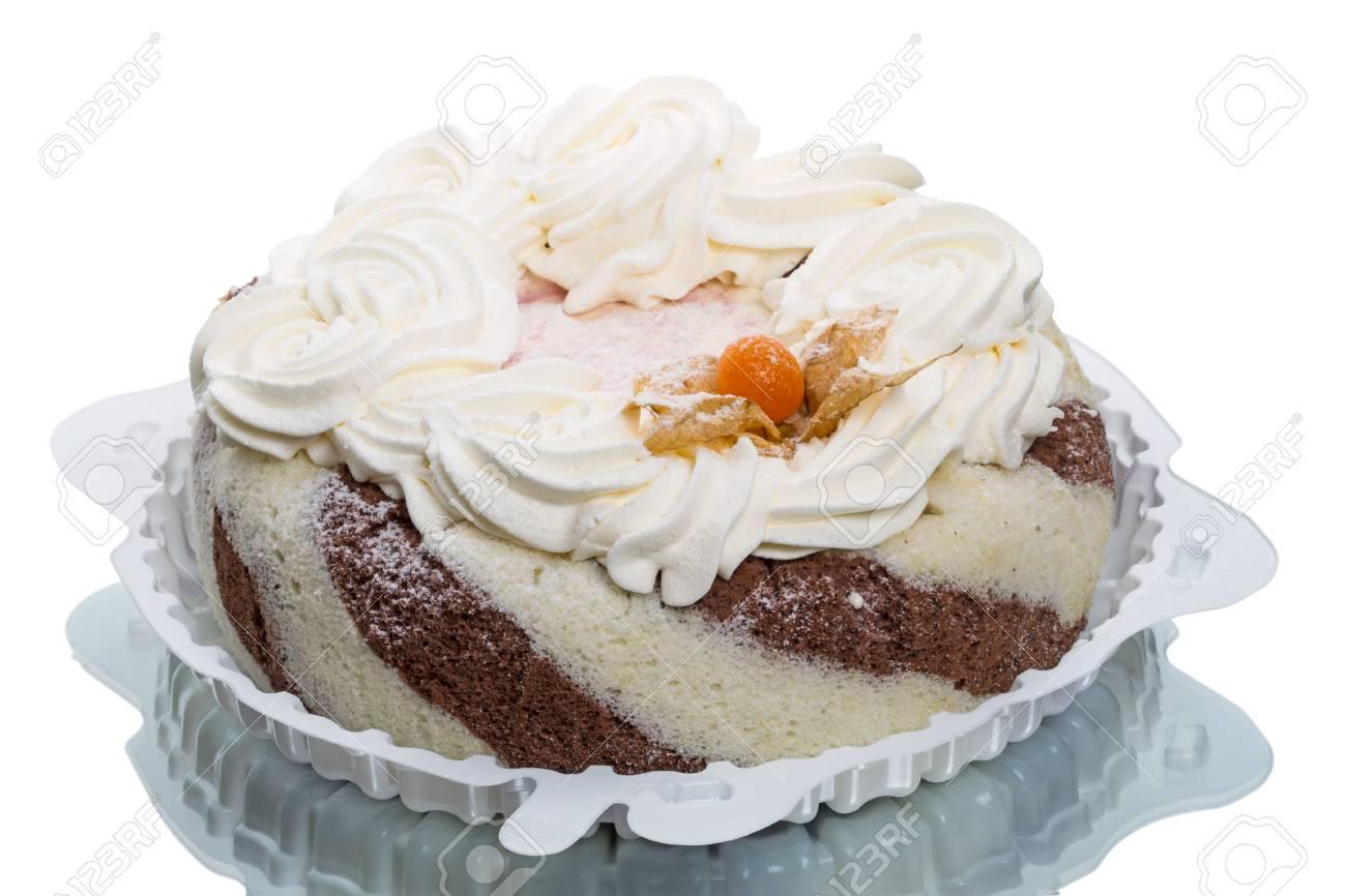 Grosse Keks Creme Kuchen Isoliert Auf Weiss Lizenzfreie Fotos