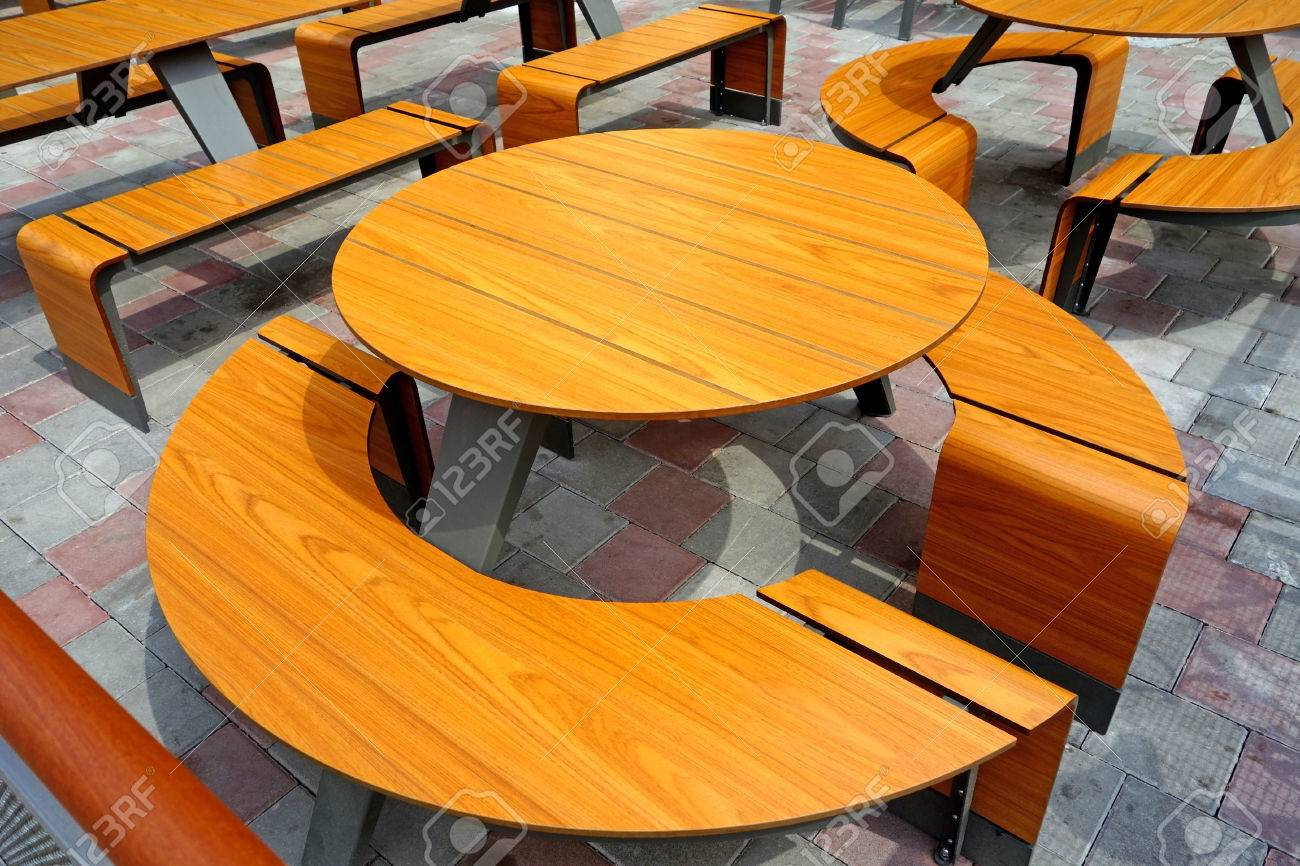 Outdoor cafe chairs - Round Table And Chairs Outdoor Cafe Stock Photo 29008579