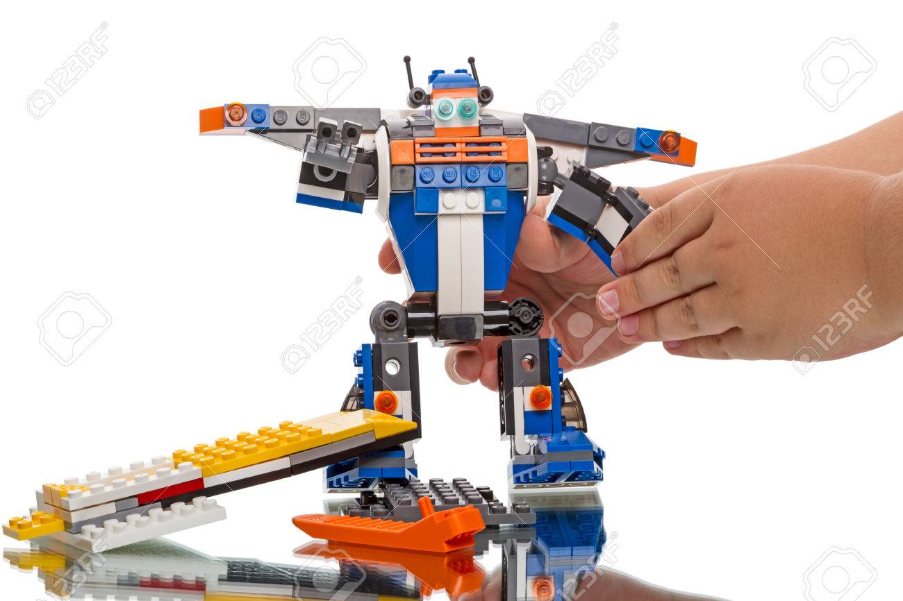 Tambov, Russia - August 16, 2014: Child builded lego - robot
