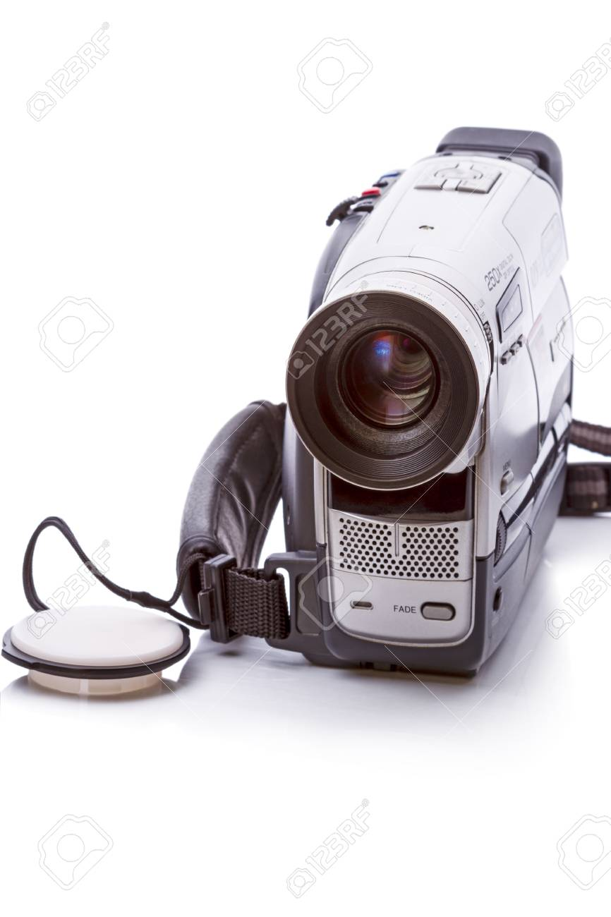 Vintage Video Camera format HVS isolated on a white background - 35395464