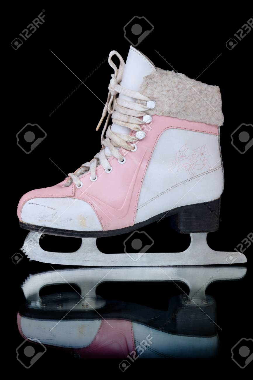 Roller skates for figure skating - No New Skates For Figure Skating Isolated On A Black Background Stock Photo 50584143