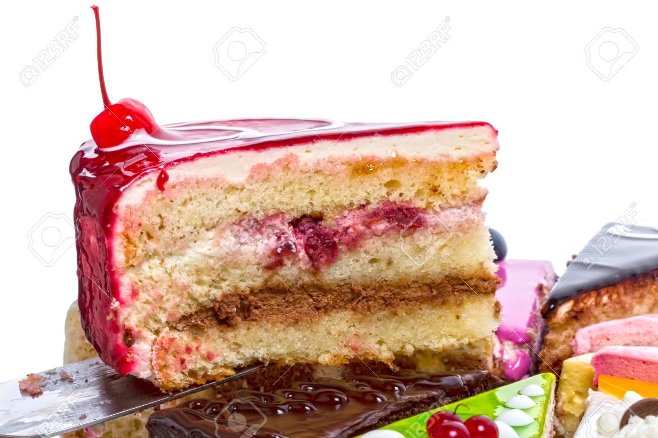 Stuck Saftige Kuchen Mit Kirschen Ein Weisser Hintergrund Lizenzfreie