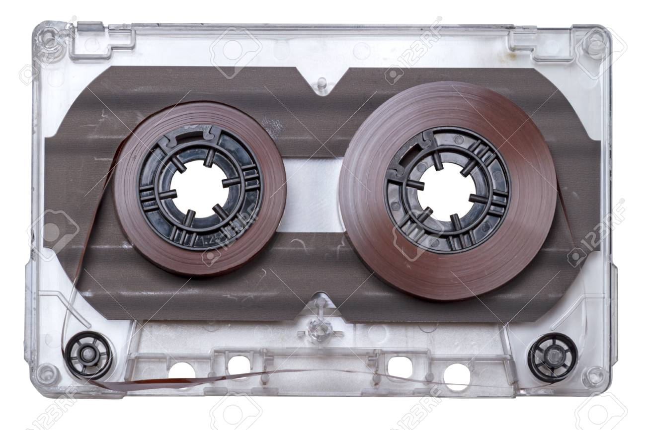 Vintage Cassette Tape With Magnetic Tape Isolated On White ...
