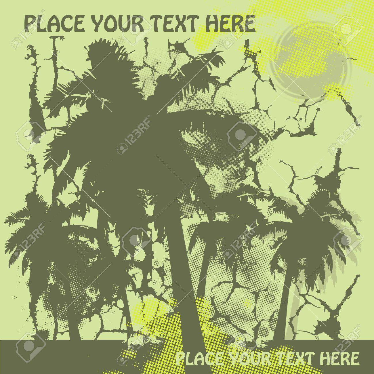 khaki and yellow summer travel design with palms Stock Vector - 10363994