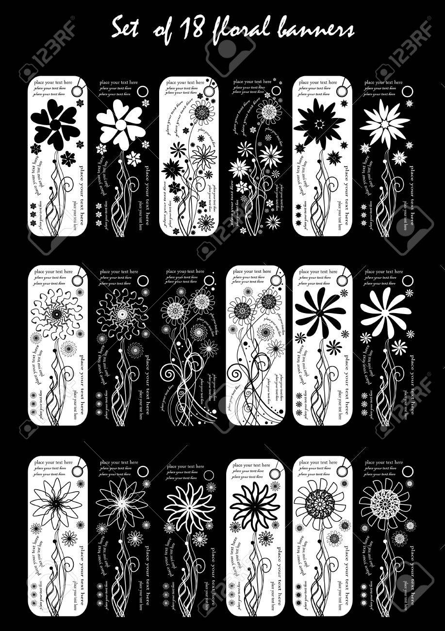 set of 18 business black and white floral banners Stock Vector - 11243798