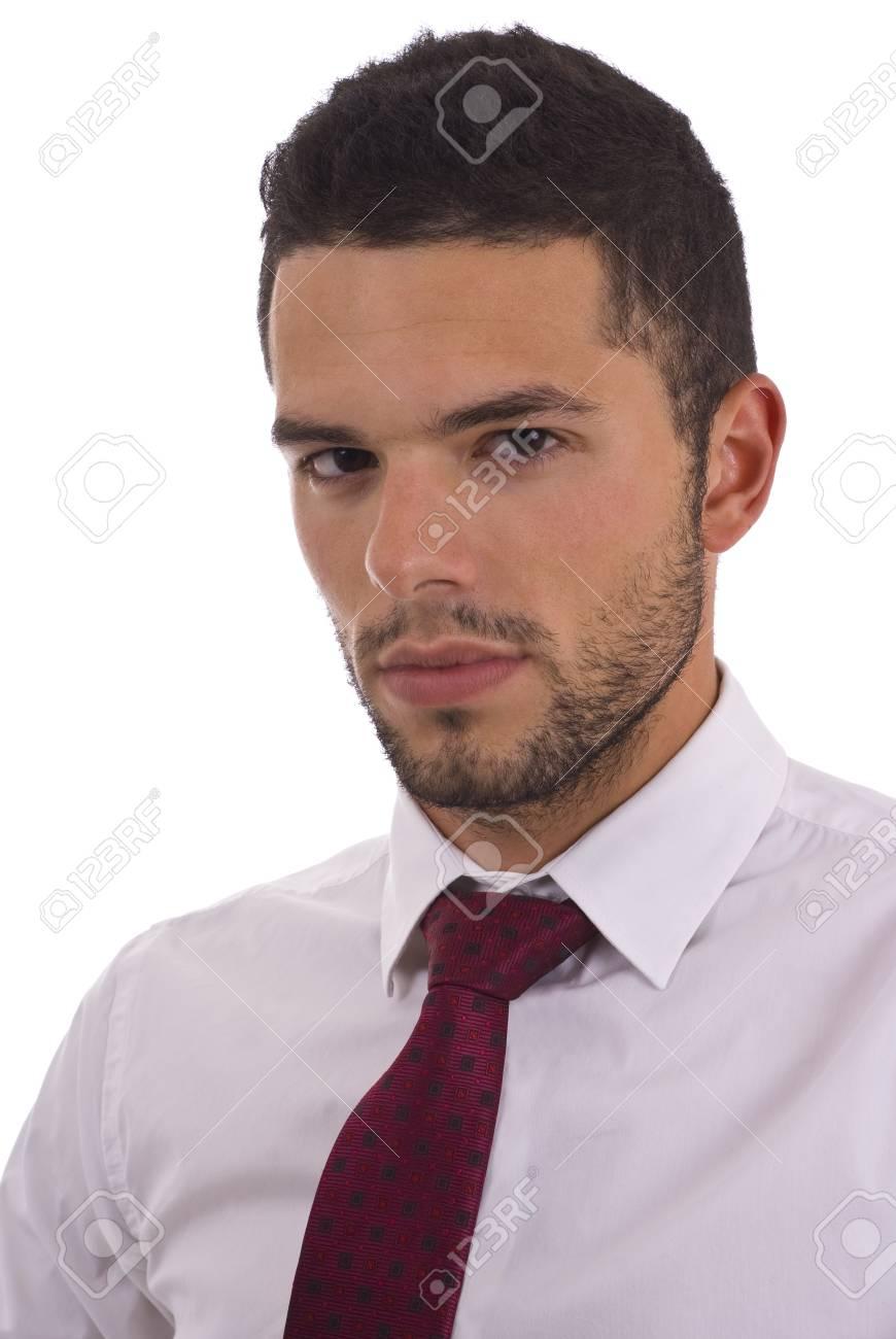 Casual Wit Overhemd.Casual Zaken Man In Wit Overhemd En Das Gea Soleerd Royalty Vrije