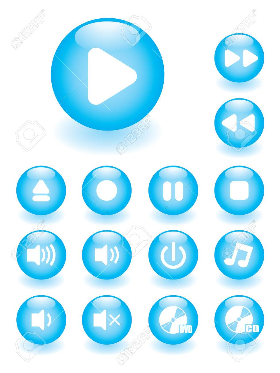 Glossy music button set Stock Vector - 3570828
