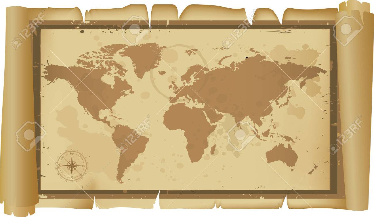 Detailed world map on scroll royalty free cliparts vectors and detailed world map on scroll stock vector 4014724 gumiabroncs Images