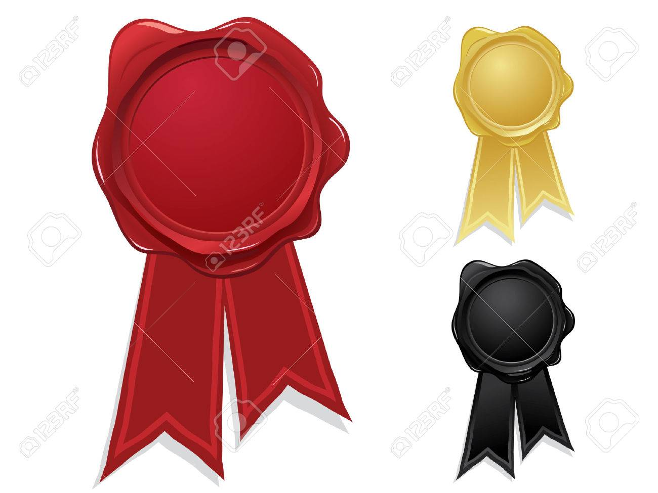 Wax seals with ribbons Stock Vector - 4113661