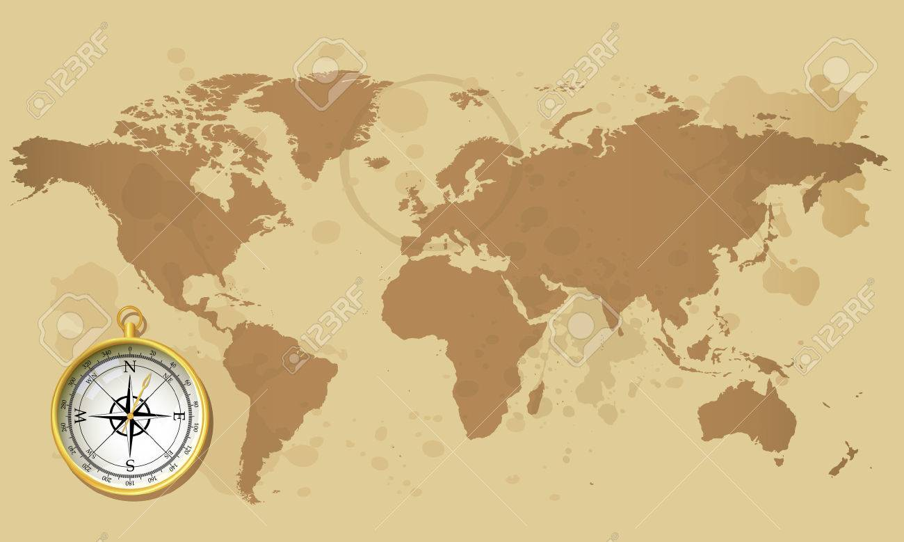 Old World Map And Compass Royalty Free Cliparts Vectors And Stock