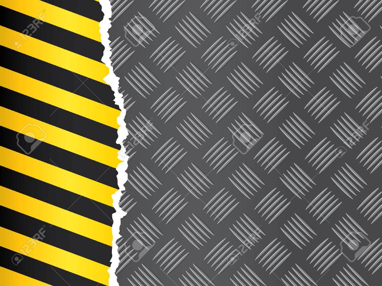 Metal floor pattern with warning strip. Stock Vector - 7282287