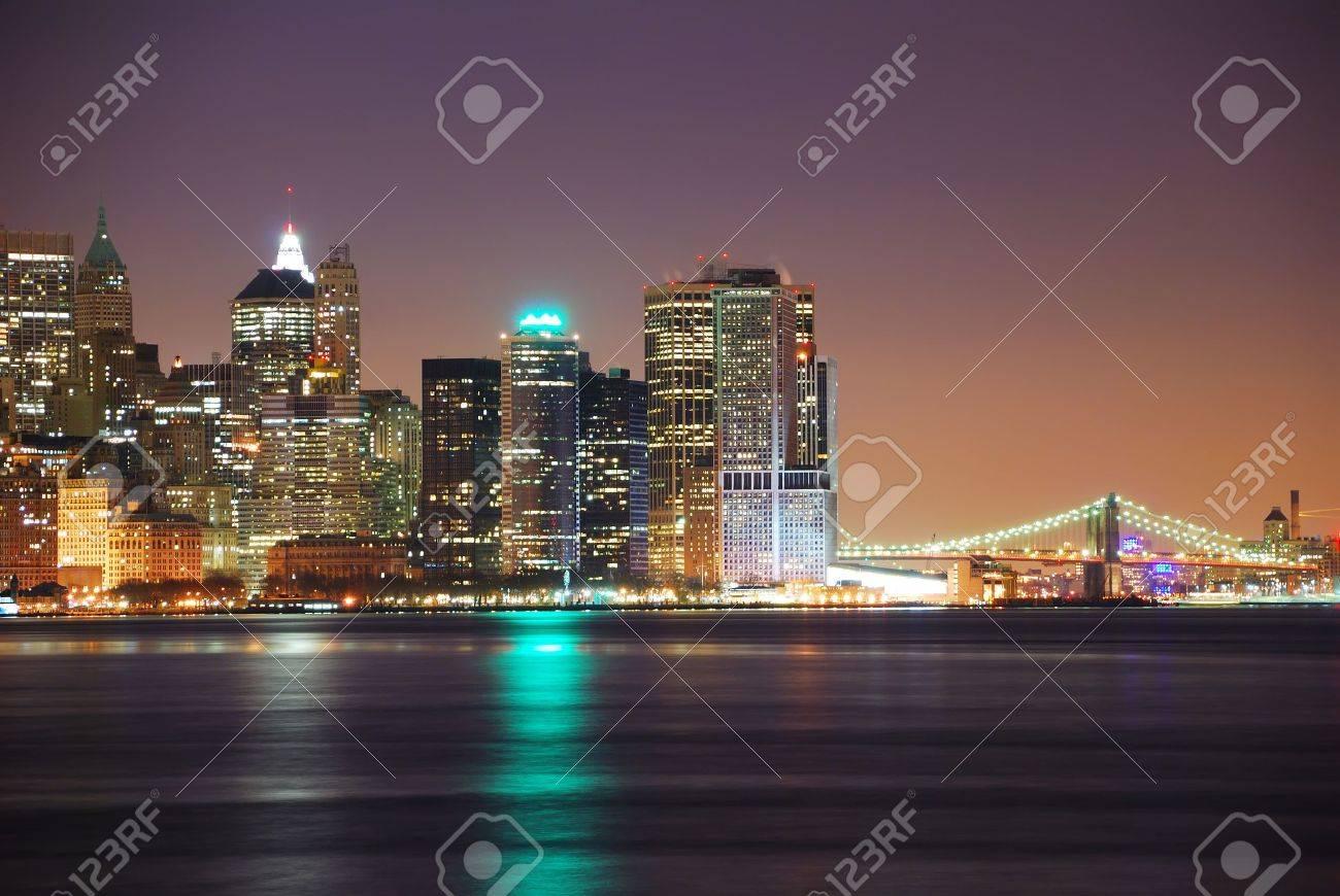 Hudson River with Manhattan, New York City skyline at night. Stock Photo - 7017175