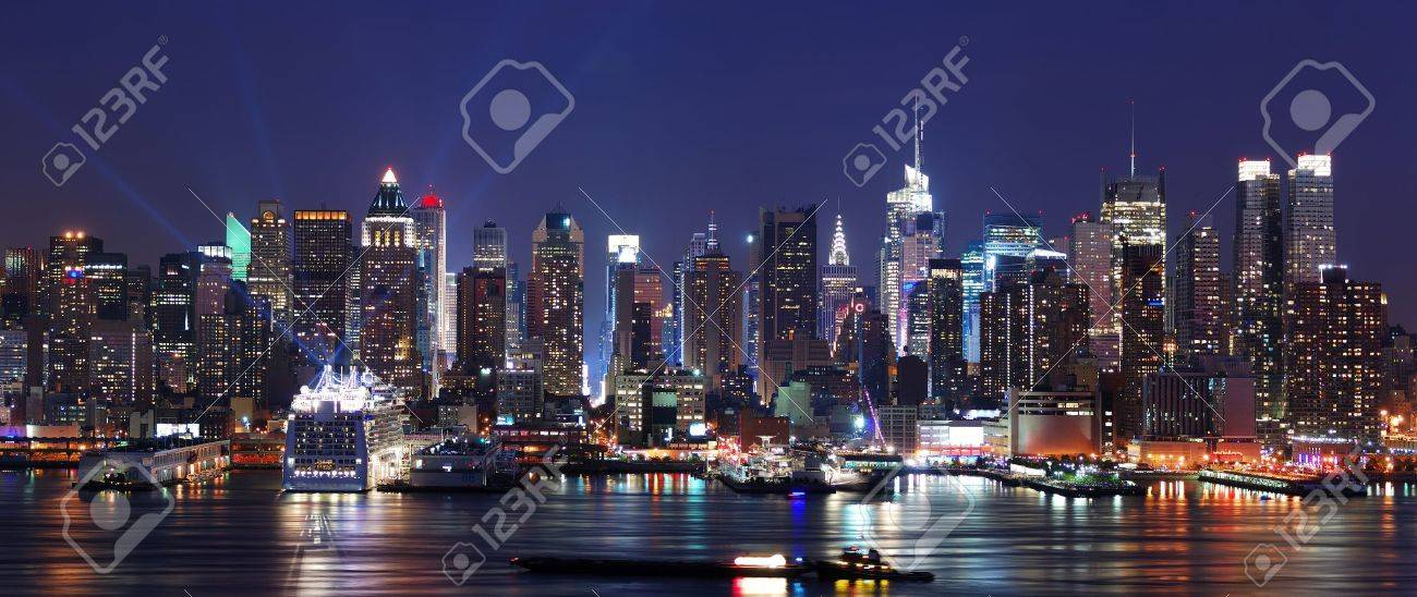 Modern City Night Scene New York City Manhattan Skyline Panorama Stock Photo Picture And Royalty Free Image Image 8042618