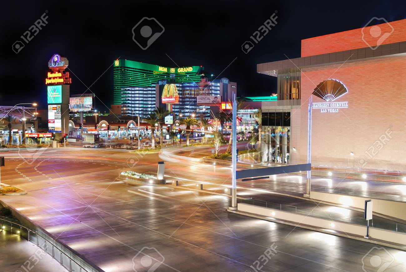 LAS VEGAS - MAR 4: Vegas Strip at night on March 4, 2010 in Las Vegas, Nevada. The Las Vegas Strip is 3.8 mile stretch featured with world class hotels and casino. Stock Photo - 8533014