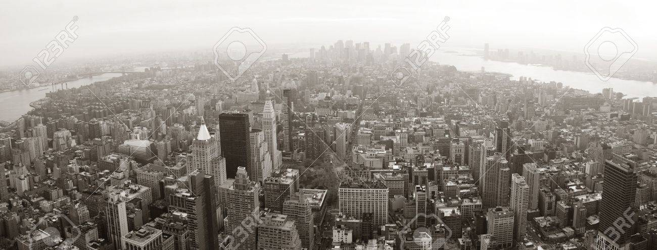 New York City Manhattan skyline aerial view panorama black and white with skyscrapers and street. Stock Photo - 9189443