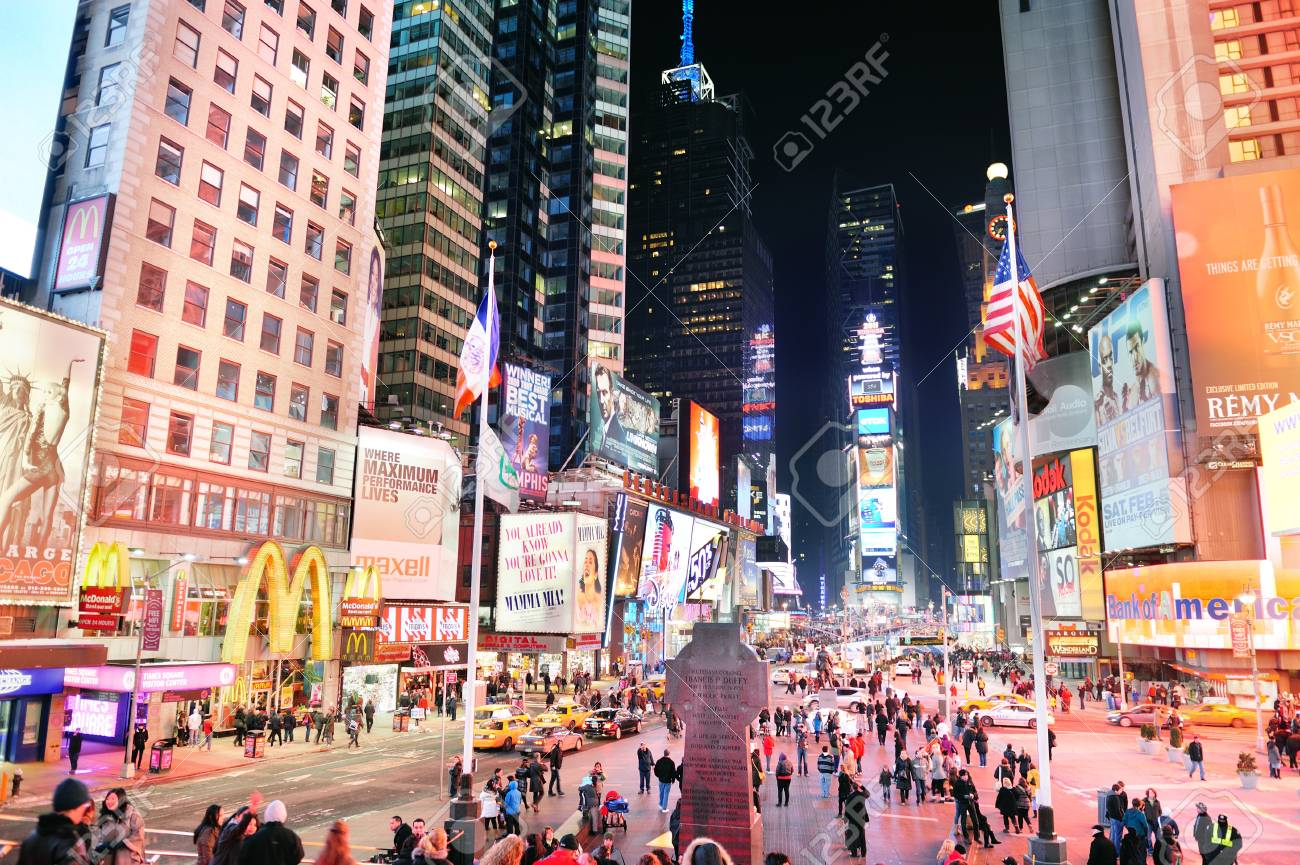 NEW YORK CITY, NY - JAN 30: Times Square is featured with Broadway Theaters and LED signs as a symbol of New York City and the United States. January 30, 2011 in Manhattan, New York City.  Stock Photo - 9158193