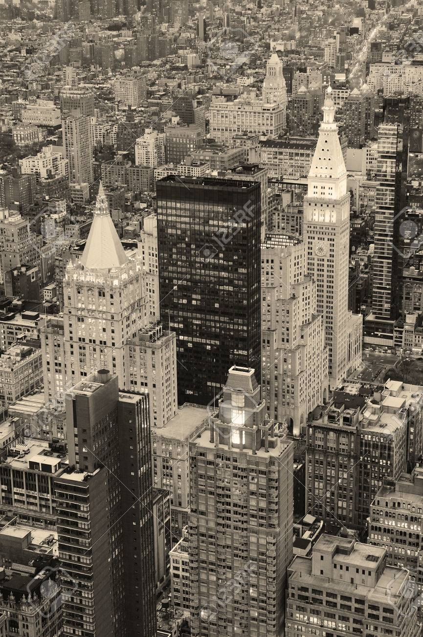 New York City Manhattan downtown aerial view at dusk with urban city skyline and skyscrapers buildings in black and white Stock Photo - 9481037