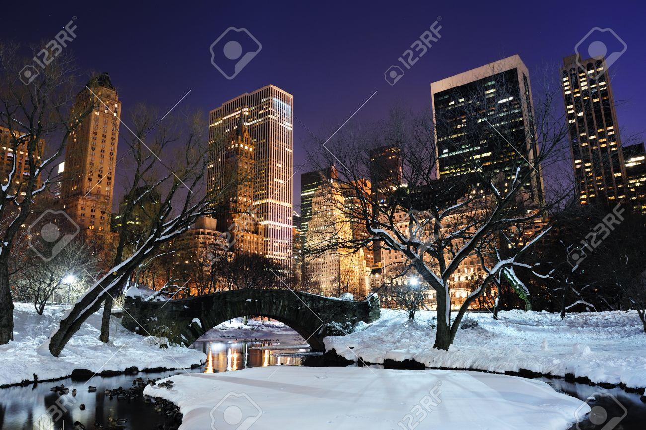 New York City Manhattan Central Park Panorama Vinter Med Snö, Bro; Frysning  Sjö Och