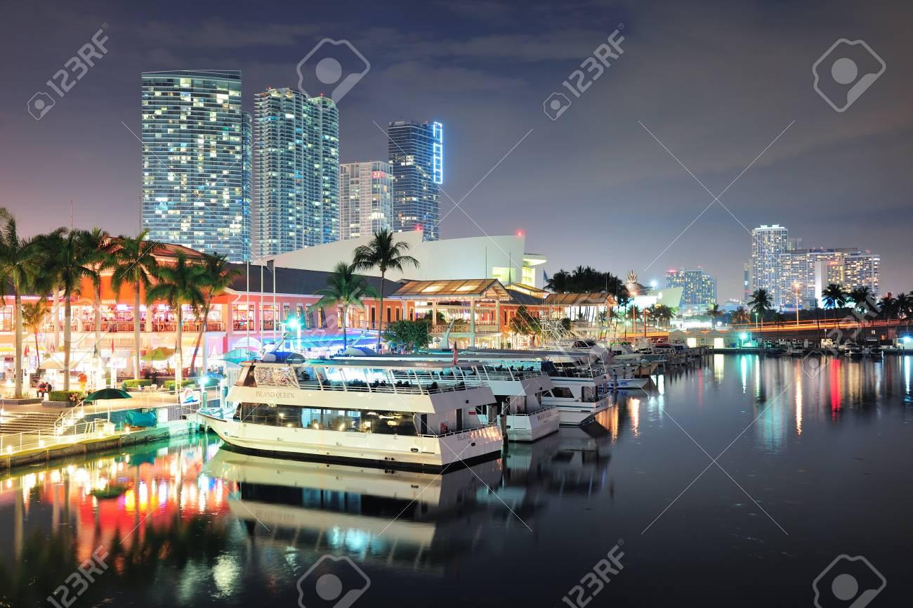 MIAMI, FL - FEB 8: Bayside Marketplace at night on February 8,