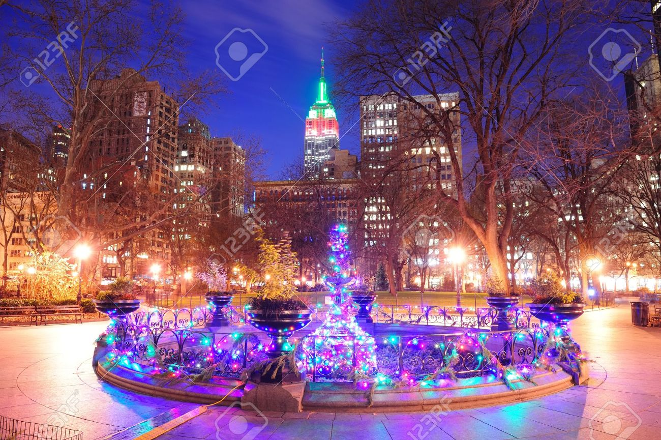 New York City Madison Square Park View With Christmas Color Lights ...