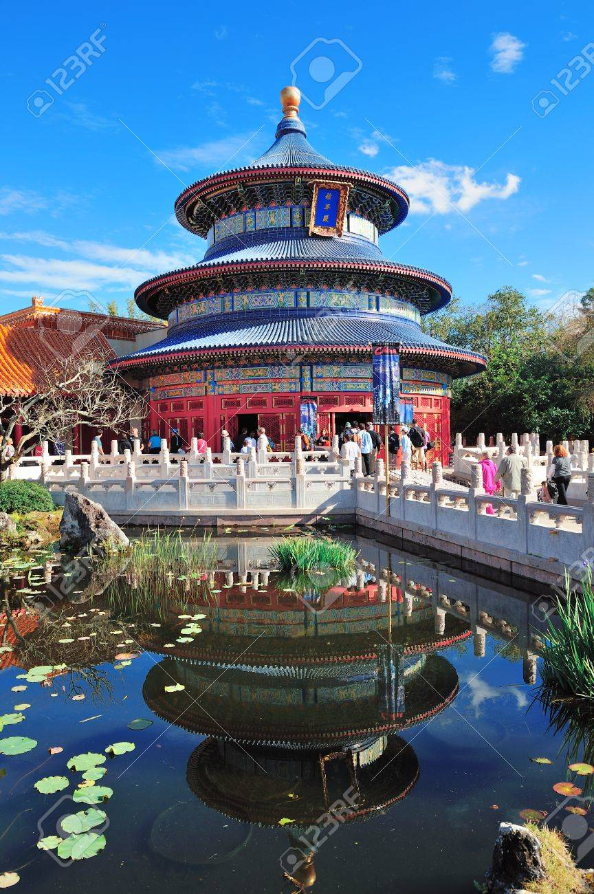 ORLANDO, FL - FEB 13: Disney Epcot Chinese style architecture with blue sky on February 13, 2012 in Orlando, Florida. Epcot is the third most visited theme park in the US, and fifth in the world. Stock Photo - 13021707