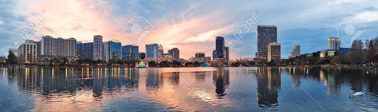 Orlando downtown Lake Eola panorama with urban buildings and reflection Stock Photo - 12993112