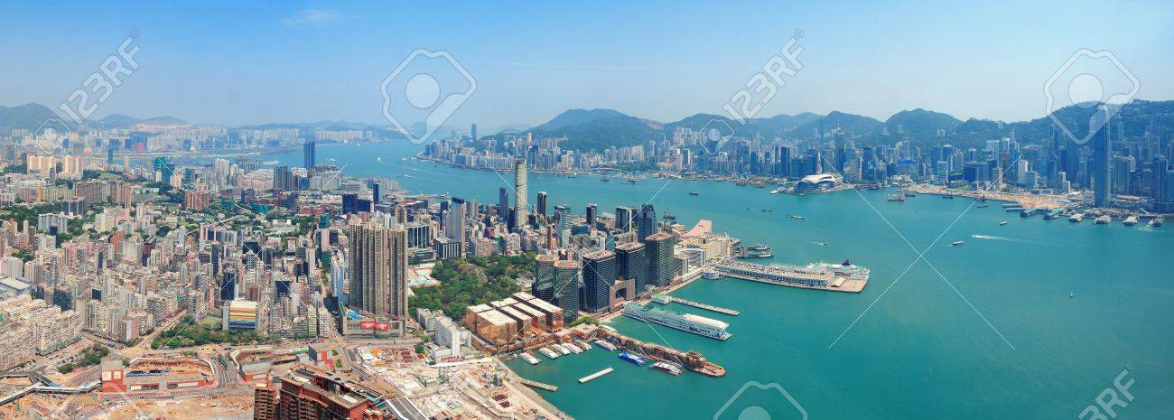 Hong Kong aerial view panorama with urban skyscrapers boat and sea Stock Photo - 14361185