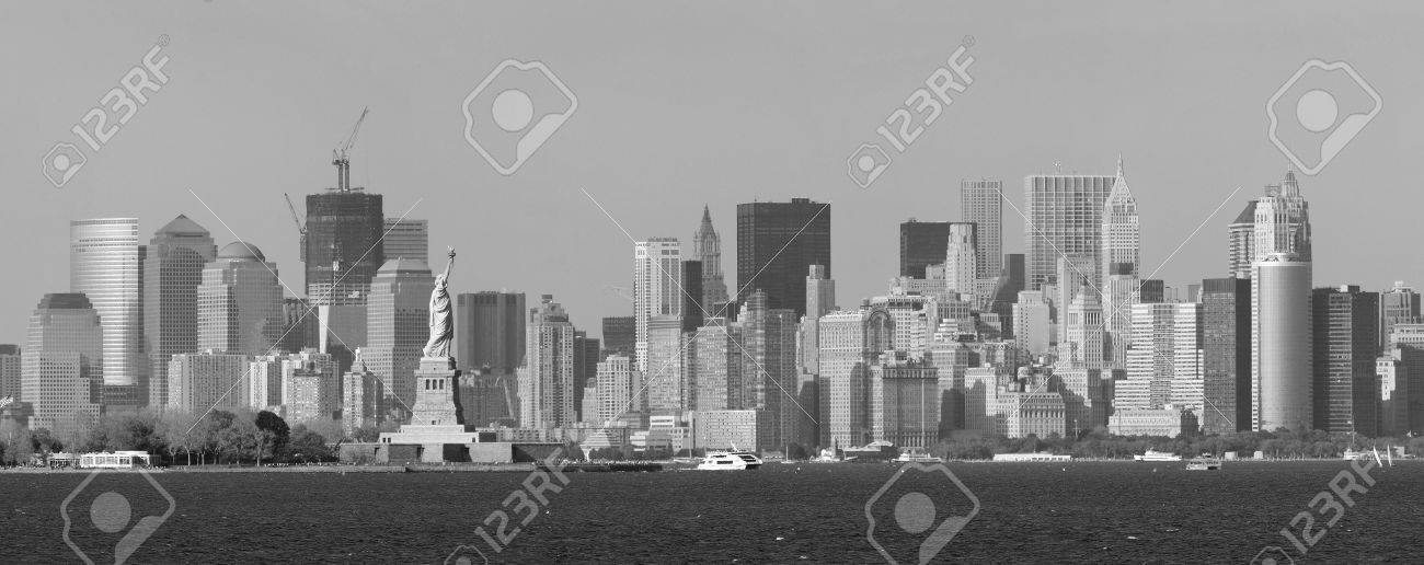 New York City Lower Manhattan Skyline Black And White With Statue