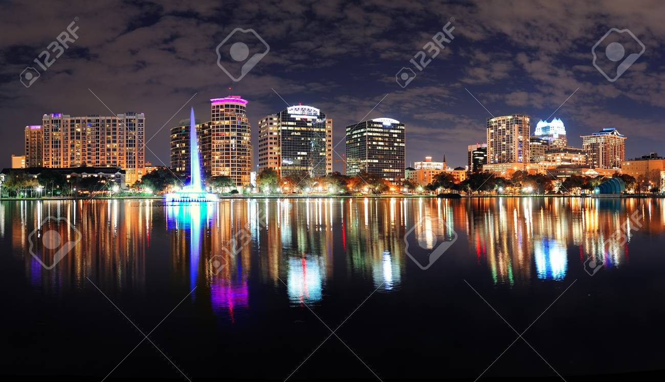 Orlando Lake Eola panorama with office buildings at night Stock Photo - 17401085