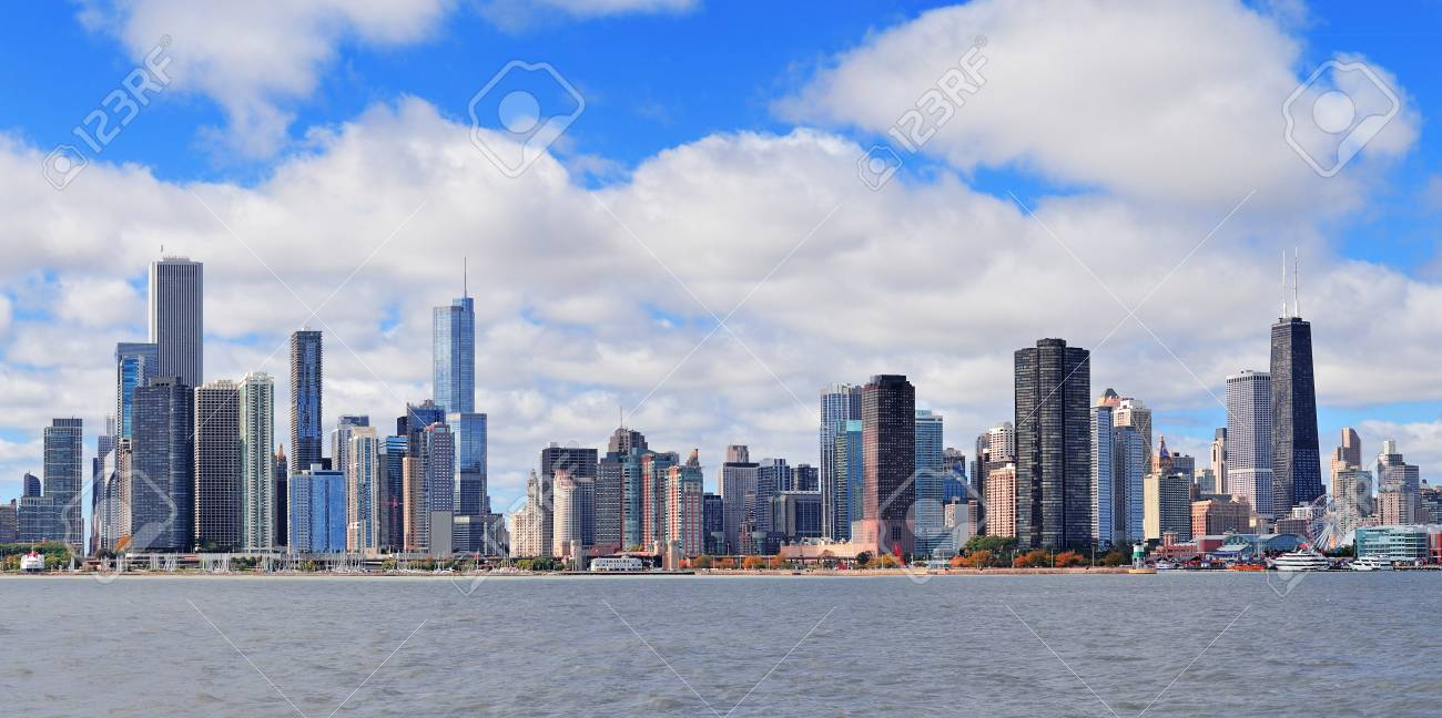 Chicago city urban skyline panorama with skyscrapers over Lake Michigan with cloudy blue sky Stock Photo - 17454560