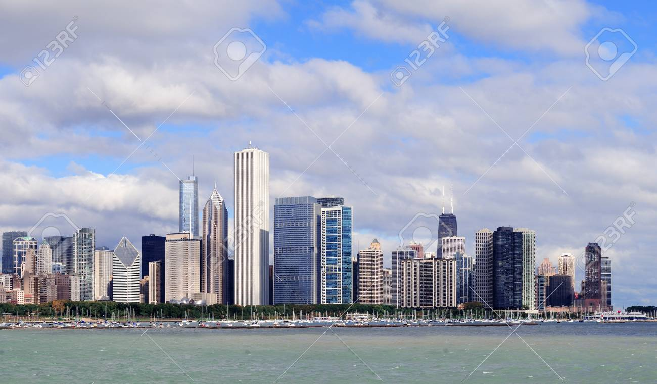 Chicago skyline panorama with skyscrapers over Lake Michigan with cloudy blue sky Stock Photo - 17454547