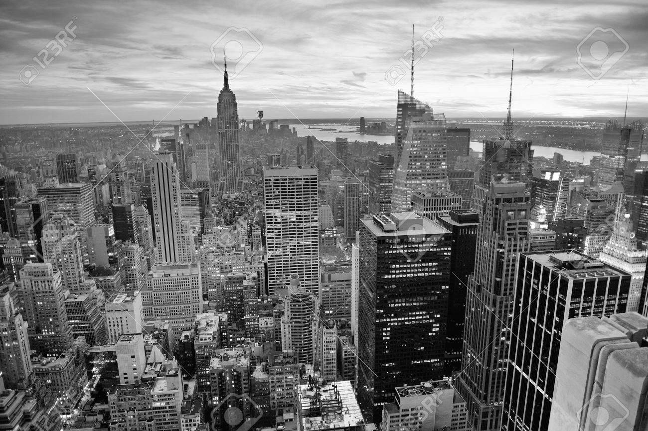 New York City Skyline Black And White With Urban Skyscrapers