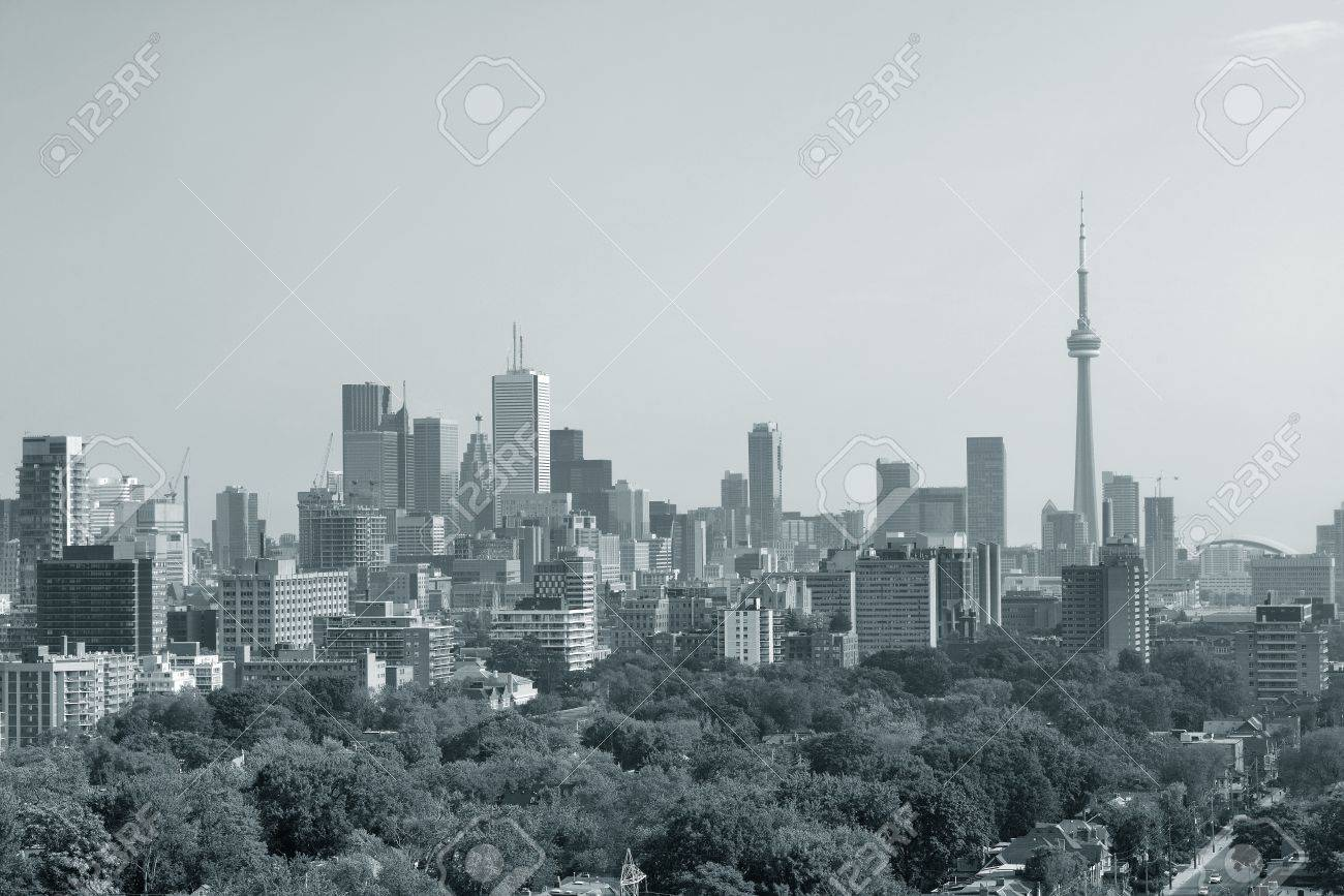 Toronto city skyline view with park and urban buildings in black and white Stock Photo - 18608485
