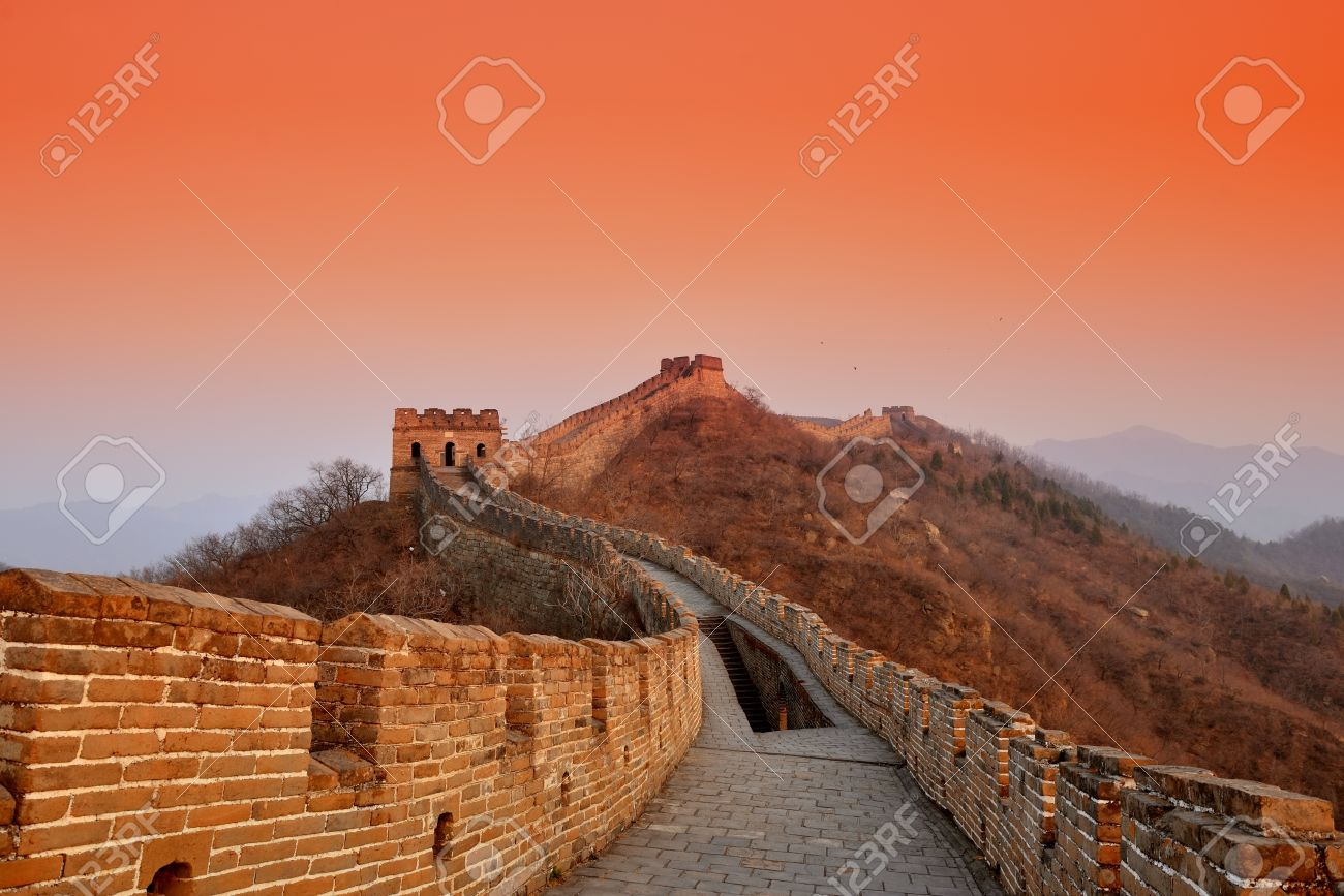 Great Wall sunset over mountains in Beijing, China. Stock Photo - 20600801