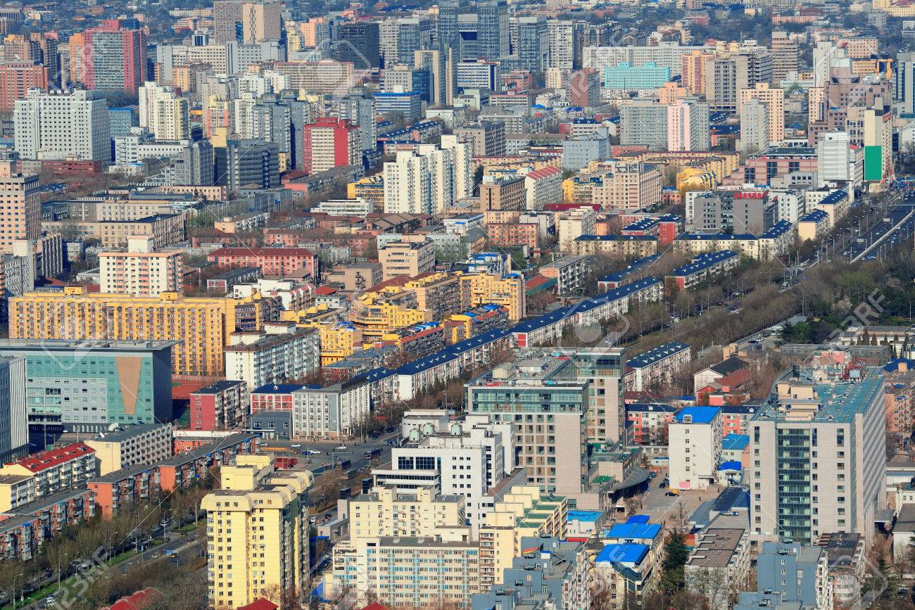 beijing city aerial view with urban buildings stock photo picture
