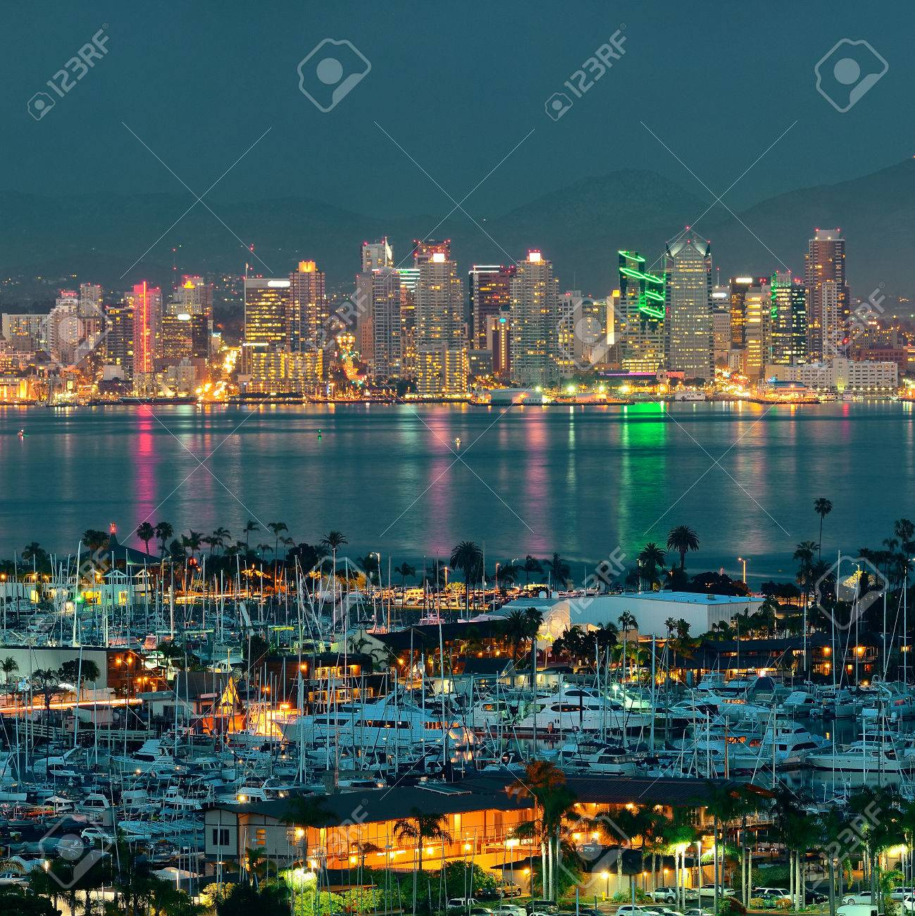 San Diego Downtown Skyline At Night With Boat In Harbor Stock Photo Picture And Royalty Free Image Image 31957138