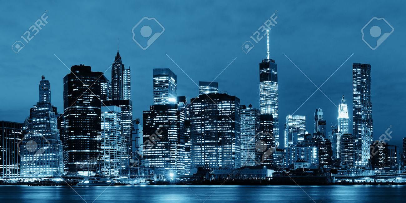 Manhattan Downtown architecture night view - 35720852