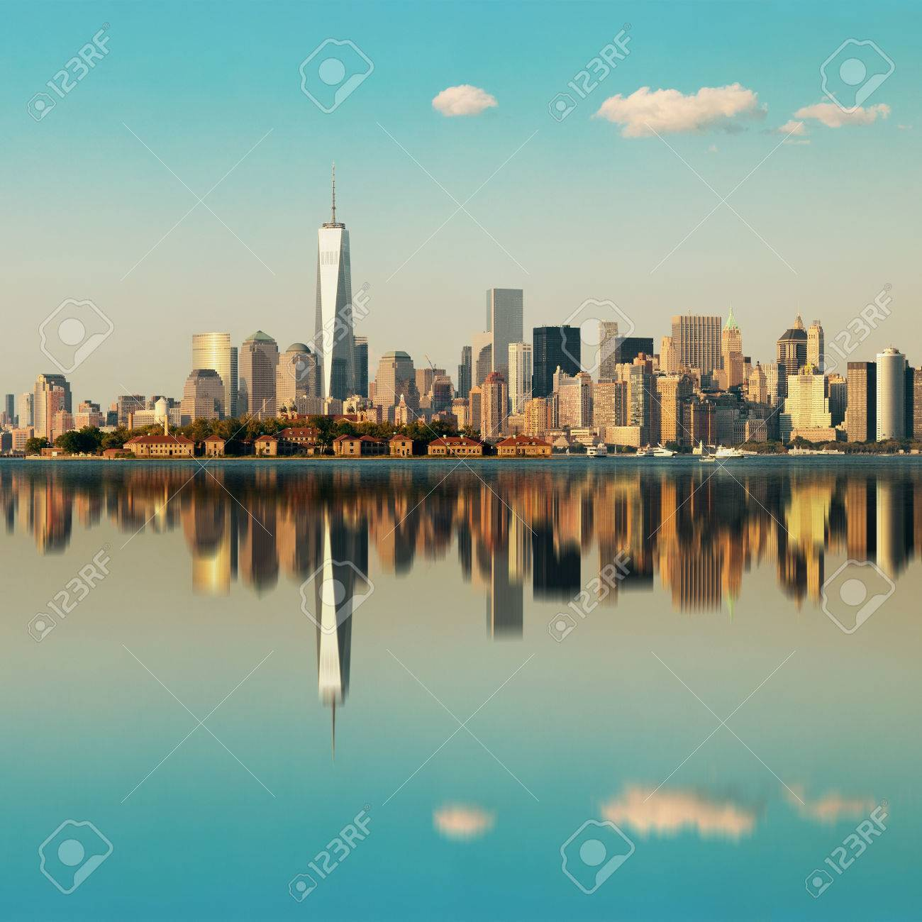 Manhattan downtown skyline with urban skyscrapers over river with reflections. - 35720954