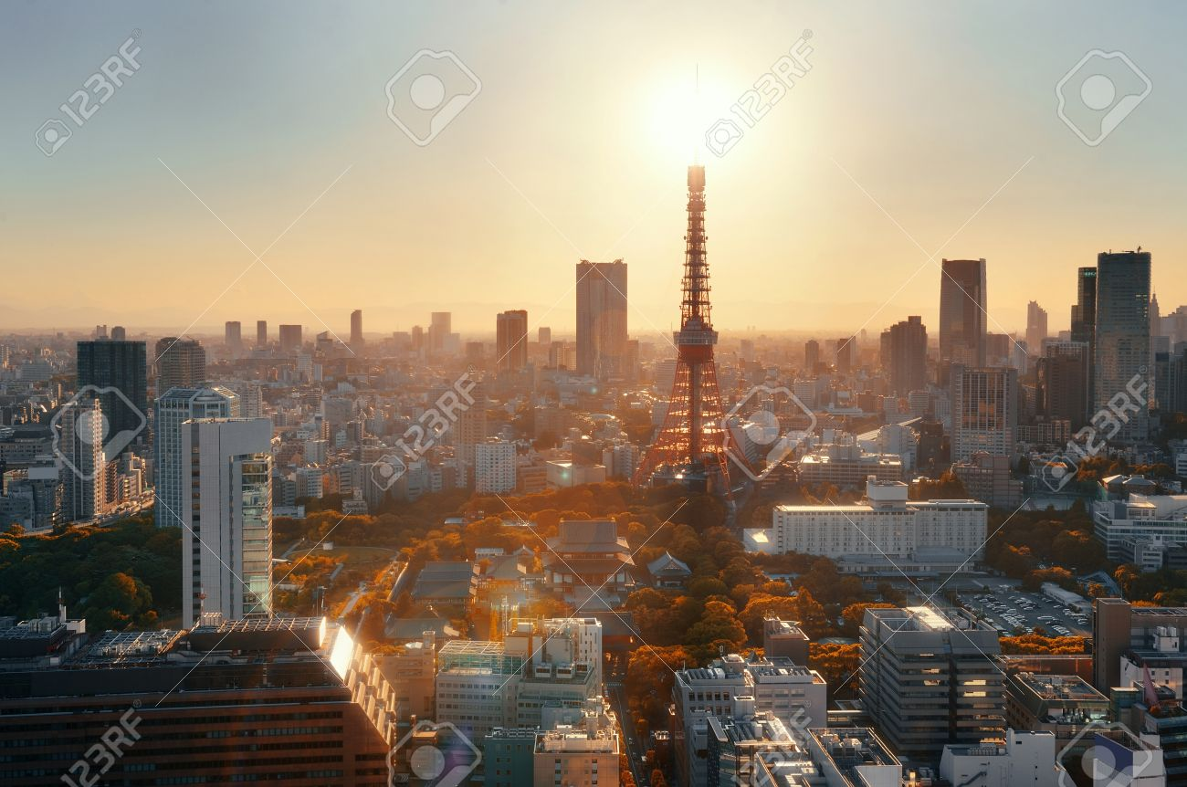 Tokyo Tower And Urban Skyline Rooftop View At Sunset, Japan. Stock ...