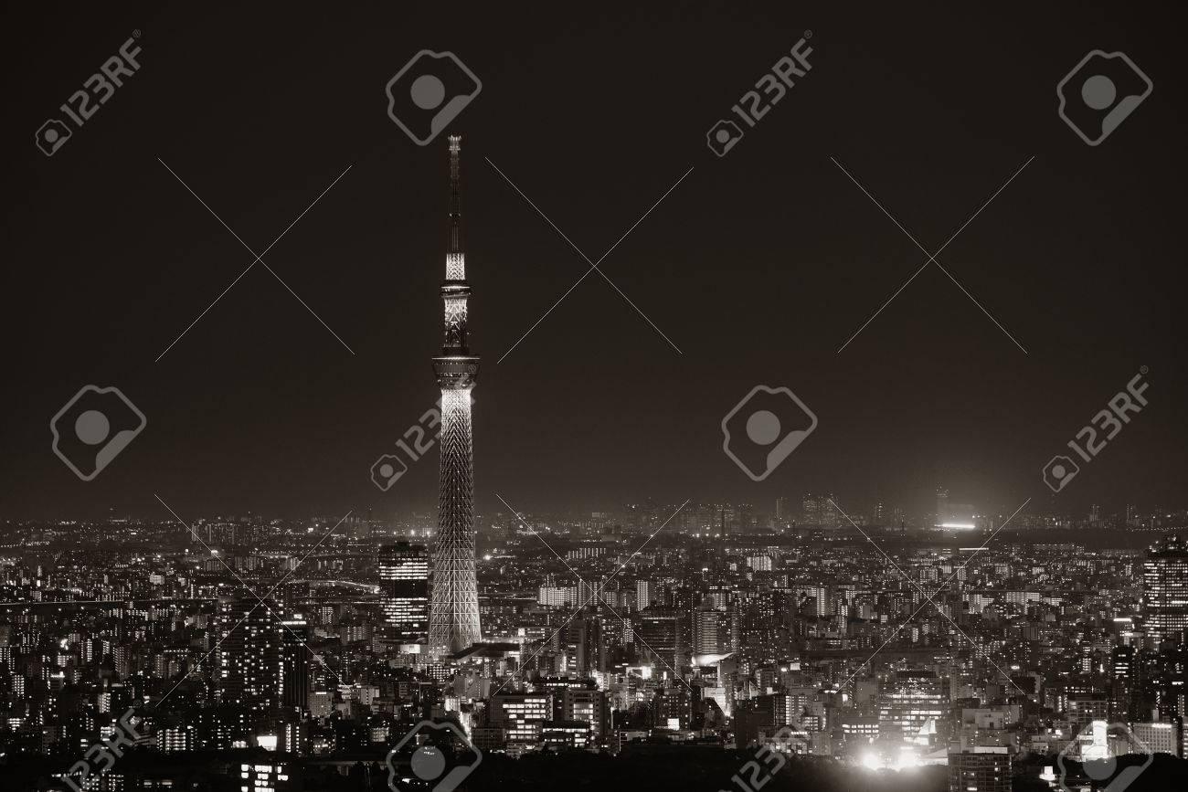 Skytree Y El Horizonte De Vista De La Terraza Urbana En La Noche Japón