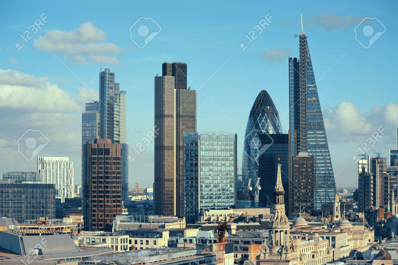 London city rooftop view with urban architectures. - 37893547