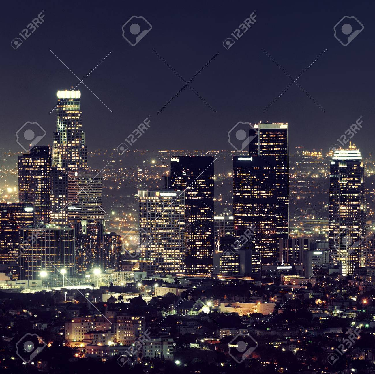 Los Angeles downtown buildings at night - 39423976