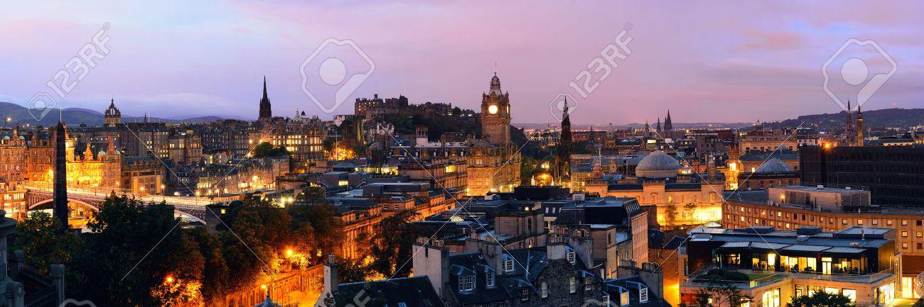 Edinburgh city view panorama at night in UK. - 39423981