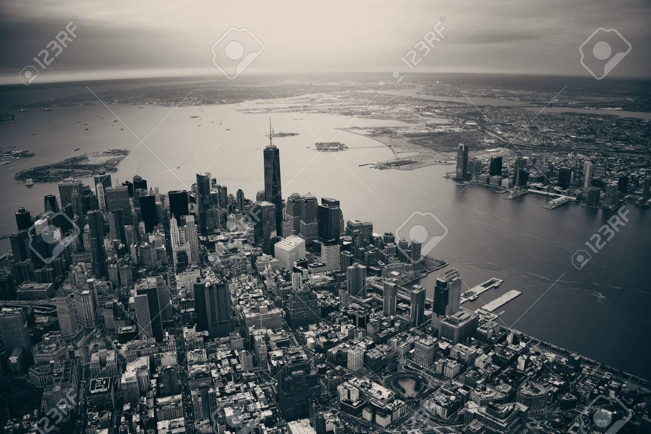 New York City Manhattan downtown aerial view - 39724081
