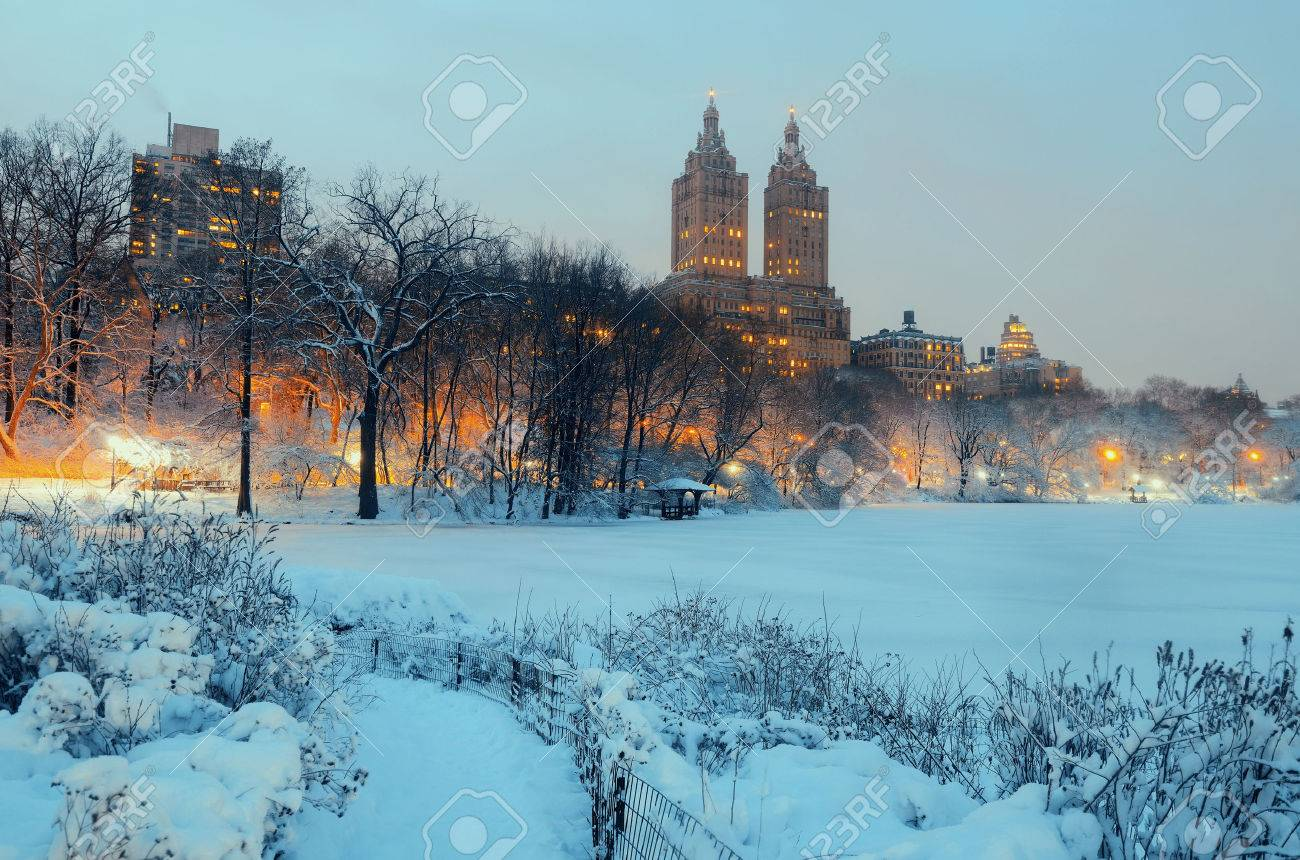 Central Park winter at night with skyscrapers in midtown Manhattan New York City - 43179335